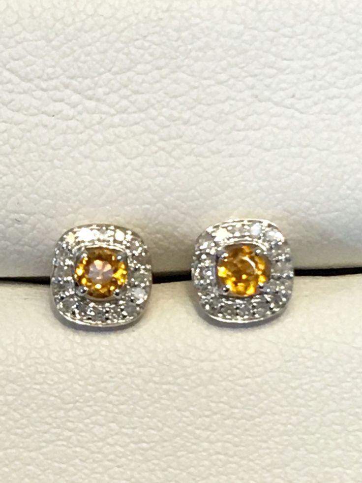 Citrine and diamond stud earrings