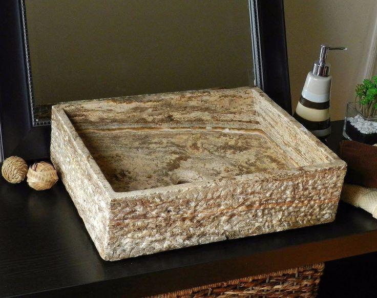 Natural Stone Vessel Sink Travertine marble Freeform ...
