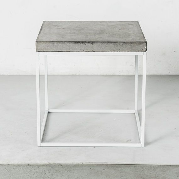"""Extra Tall Nightstand 23.5"""" Industrial Steel & Concrete / Bedside Table / End Table / Modular Furniture / Mid-Century Modern [PCD203]"""