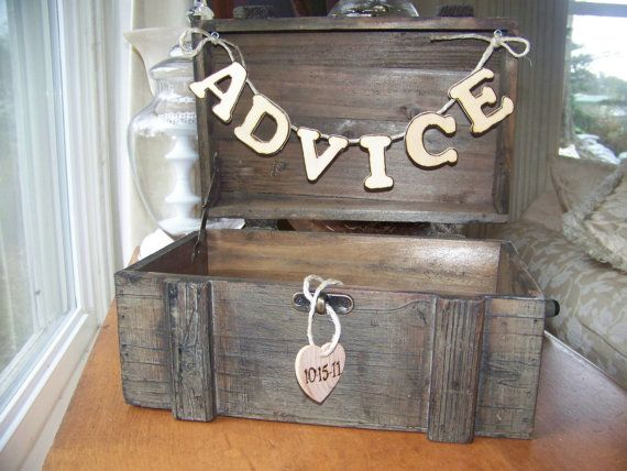 Rustic Wedding ADVICE Box with Date of by sugarplumcottage