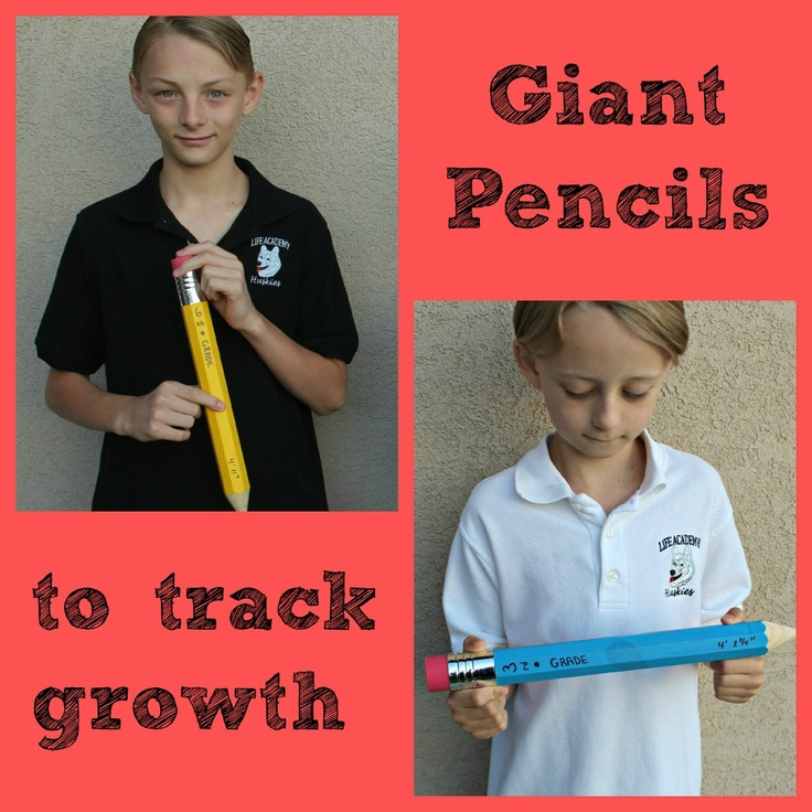 giant pencils to record their grade and height every year
