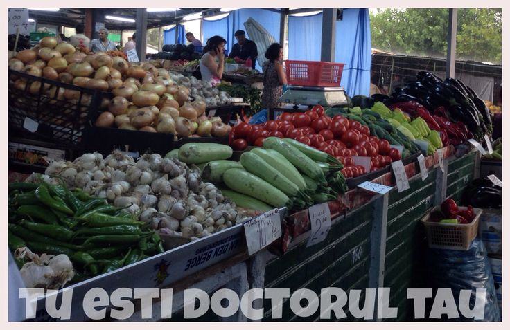 At the market, with fresh fruits and vegetables