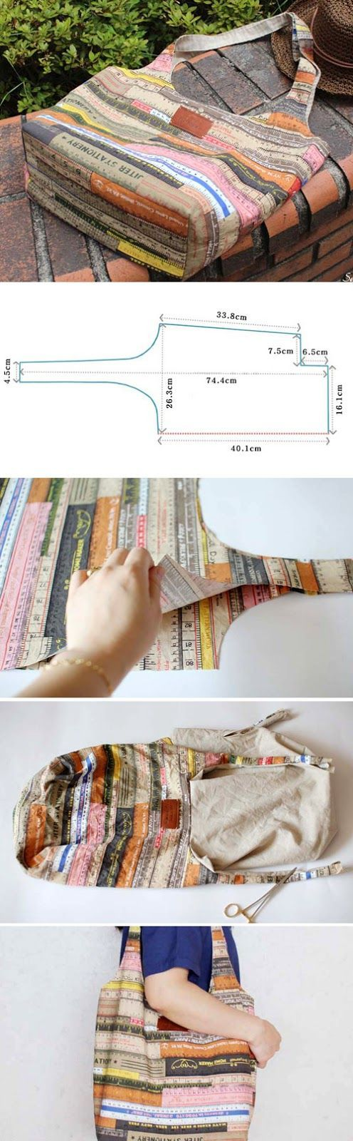 Easy Fabric Hobo Tote Bag sewing pattern & tutorial www.handmadiya.co...