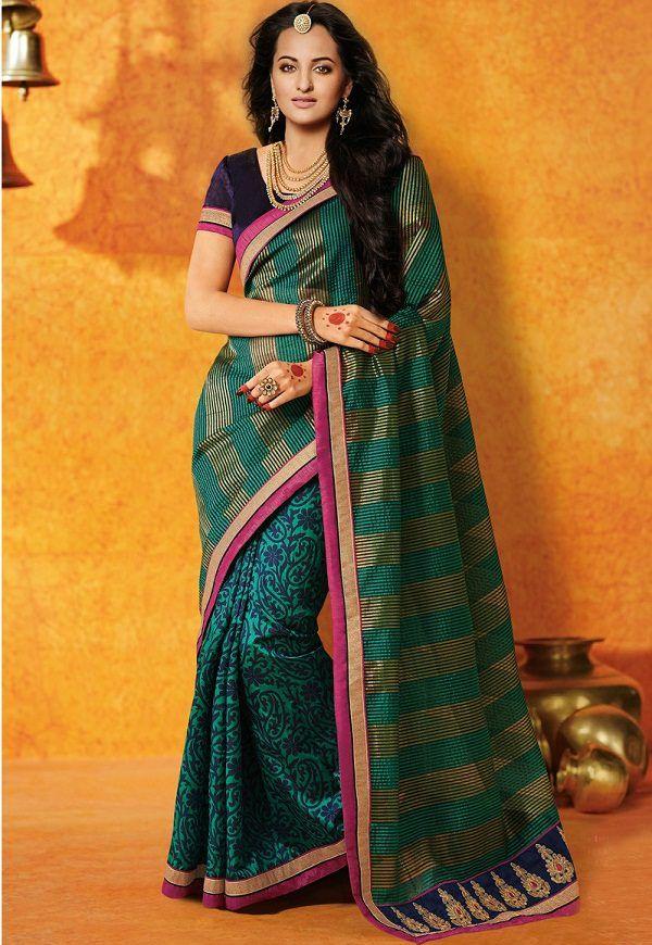 sonakshi sinha in multicolor bhagalpuri silk printed saree of bihar
