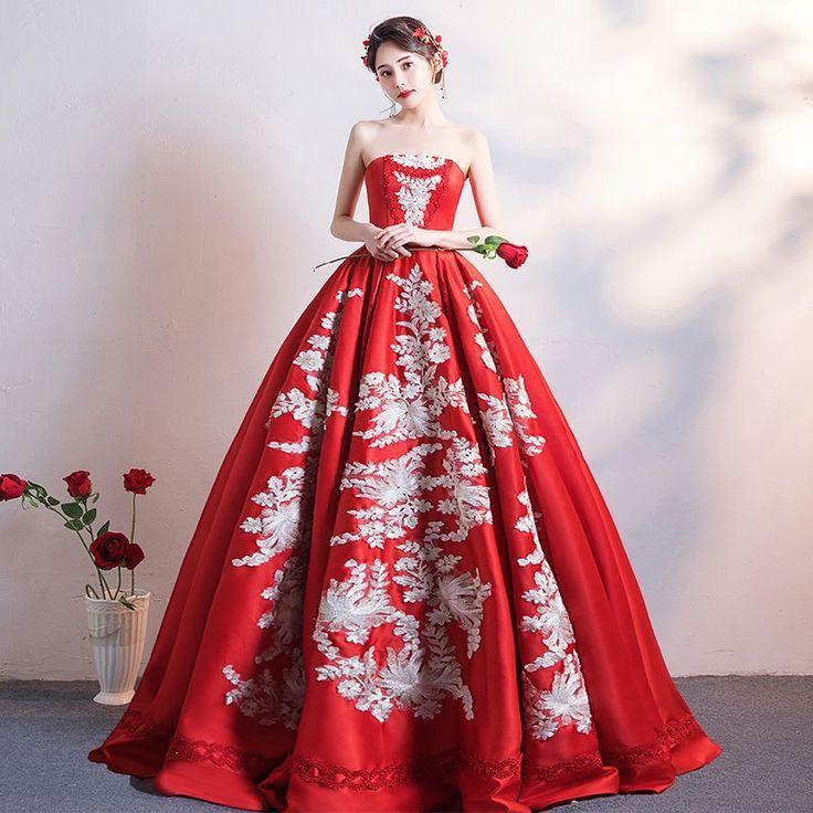 Chinski Styl Piekne Burgund Suknie Slubne 2019 Princessa Bez Ramiaczek Z Koronki Kwiat Bez Rekawow Bez Plecow Dl Burgundy Wedding Dress Dresses Wedding Dresses