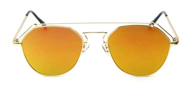 Orange Mirror Futuristic Sunglasses Metal Aviator Retro Designer Men Women Style