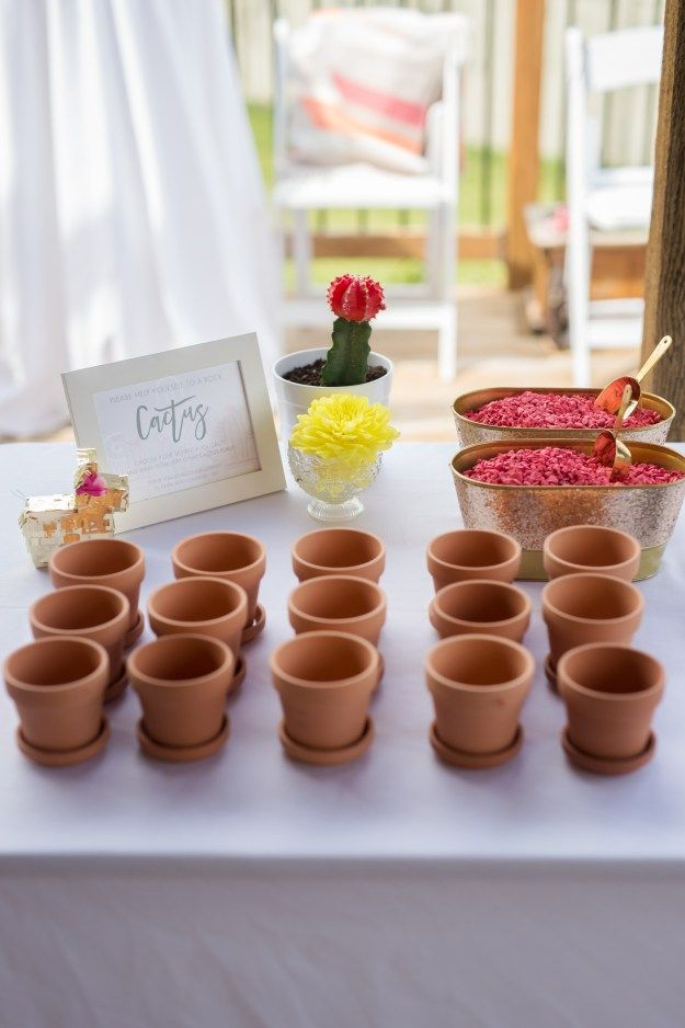 Rock cactus bridal shower favor. A Pink and Gold Fiesta Bridal Shower   Ultimate Bridesmaid   Christy D Swanberg Photography
