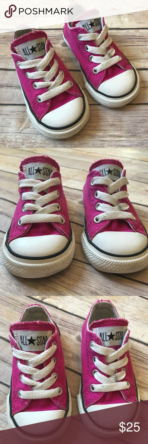 Raspberry Pink Converse Size 5 toddler Raspberry Pink Converse. Canvas and foot beds very clean. Toes are a little worn (see close up pic). Logos are in great shape. Laces are pretty clean except for one tiny black smudge. Very good condition. Converse Shoes Sneakers