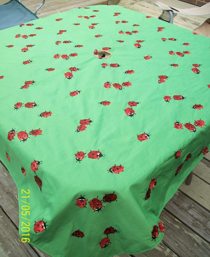 Reversible Lady Bug Outdoor Table Cloth  for Dale, lady bug embroidered and buttons with brown bark reverse. (2016-05-06, Oakridge, London, ON, Canada)