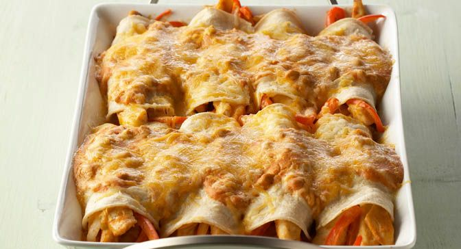 ... bell pepper strips and green chiles and topped with melted cheese