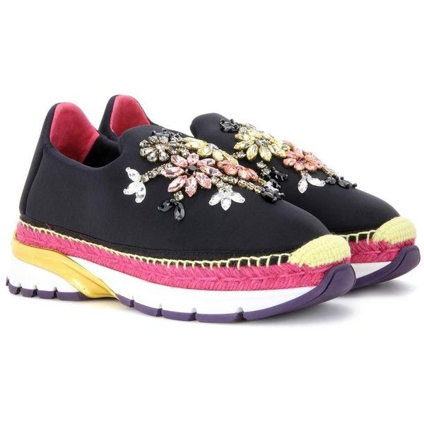 Dolce & Gabbana Embellished Sneakers ($1,645) ❤ liked on Polyvore featuring shoes, sneakers, black, black trainers, black embellished shoes, dolce gabbana trainers, kohl shoes and decorating shoes