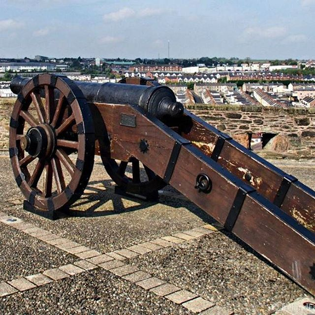 Cannon atop the city wall of Derry.  Did you know that Derry is the only city in Ireland that remains completely surrounded by its city walls?
