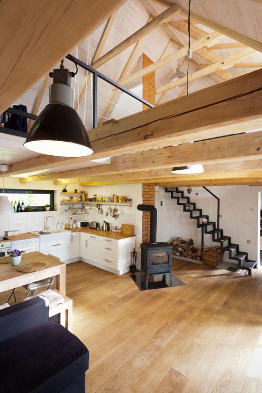 spacious beamed interior