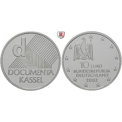 Bundesrepublik Deutschland, 10 Euro 2002, Documenta., J, bfr., J. 492: 10 Euro 2002 J. Documenta. J. 492; bankfrisch 22,00€ #coins
