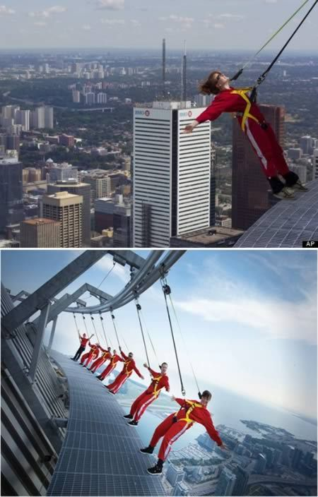 "Oddee: ""The CN Tower holds a Guinness World Record for its EdgeWalk attraction — the highest external walk on a building. The attraction allows people to walk hands free along a 1.5-metre-wide ledge that surrounds the top of the tower's main pod."""