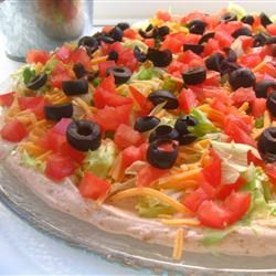 Taco Dip I With Cream Cheese, Non-fat Sour Cream, Taco Seasoning Mix, Iceberg Lettuce, Shredded Cheddar Cheese, Chopped Tomatoes, Green Bell Pepper, Black Olives