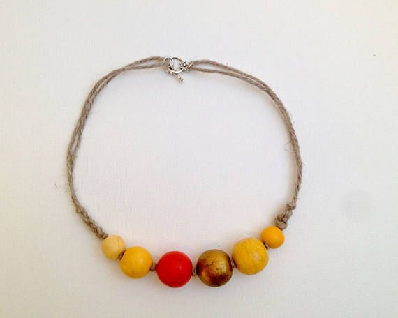 Jewelry Yellow necklace Wooden beads necklace Ecofriendly gift