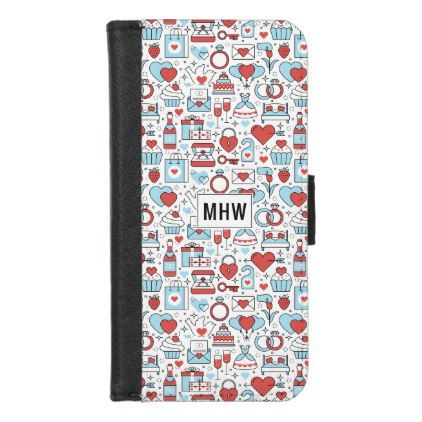 Wedding Icons custom monogram phone wallets - individual customized unique ideas designs custom gift ideas