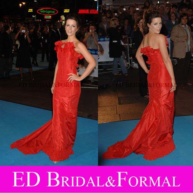 Kate Beckinsale Red Dress  Click UK Film Premiere Red Carpet Celebrity Gown Taffeta Long Prom Evening Dress vestidos de gala