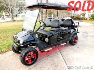 Custom lifted 2011 Club Car Precedent gas powered 6 passenger limo golf cart with unique Phantom body, by CKDs Golf Carts