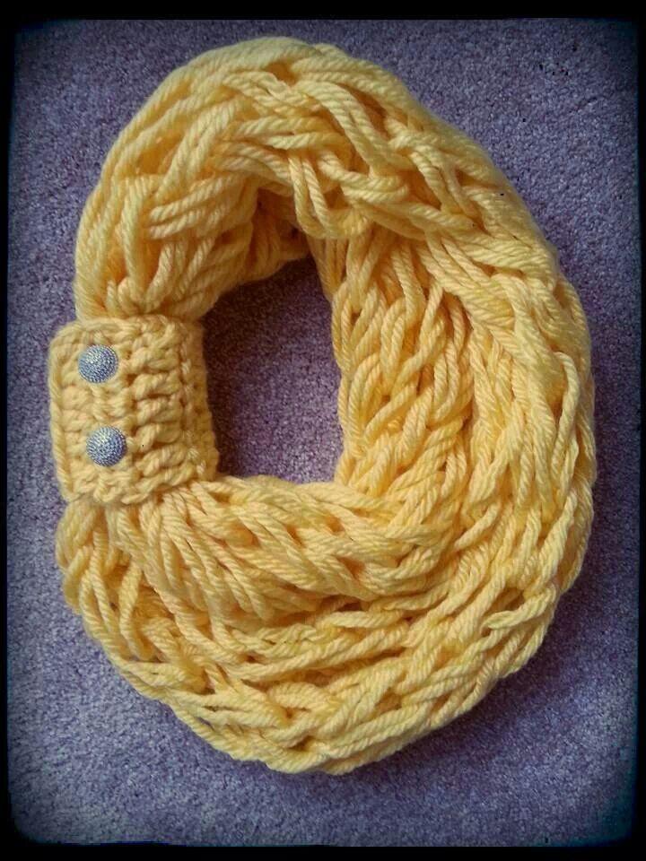 Arm knit scarf from Heartland Scarves. Facebook.com/heartlandscarvs