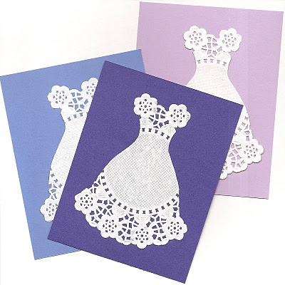 Clever easy greeting card idea using paper doilies