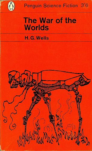 """""""The War of the Words"""" (1898), by H.G. Wells. If you read it, you must be amazed at the modernist script (and perspective) in this 19th century novel - truly visionary. Equally, the novel is downright exciting, and reads like modern SF (tripods not withstanding). Many films have used the book.. still waiting for that one blaster ;)  Yet another Penguin paperback ugly cover i wouldn't trade for the world :d"""