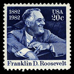Franklin D. Roosevelt, 32nd president of the United States. Copyright United States Postal Service. All rights reserved.