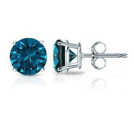 Diamant Ohrstecker mit blauen Diamanten. Diese Diamantohrstecker sind für nur 199.00 Euro bei www.juwelierhausabt.de erhältlich.