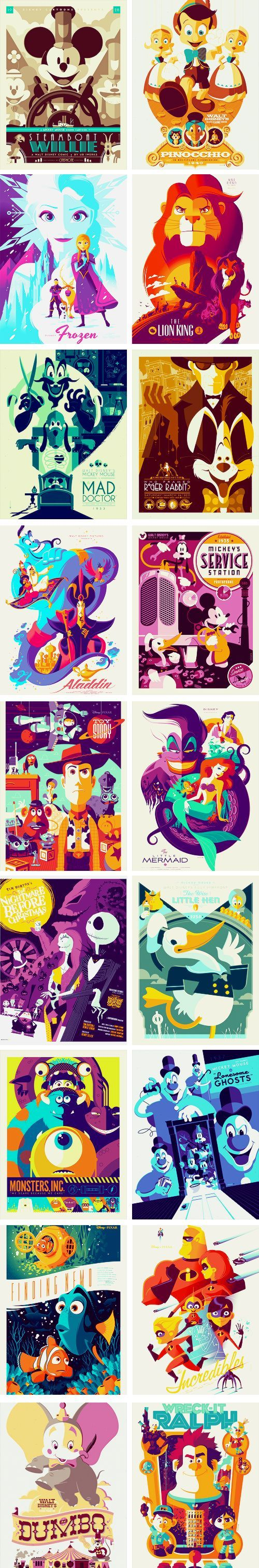 Disney posters by Tom Whalen - Lion King, Aladdin, NBC, Toy Story, Monsters, Inc, Lil Mermaid, Finding Nemo