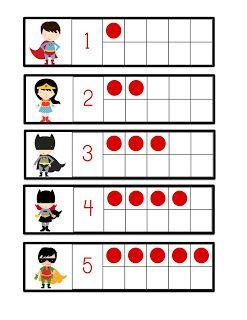 Preschool Printables: Super Hero Fun Number Cards