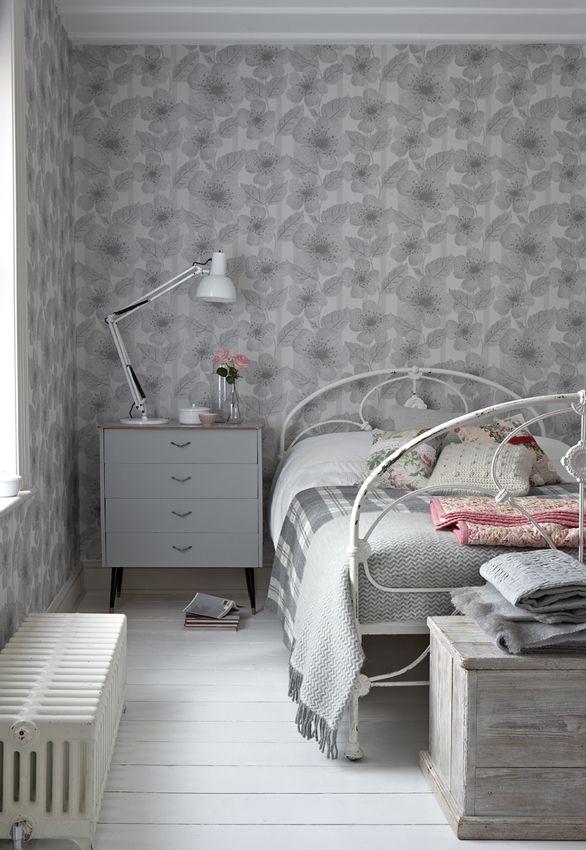 Beautiful grey bedroom created using the very