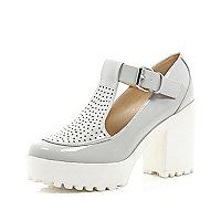 Grey chunky perforated T-bar platform shoes