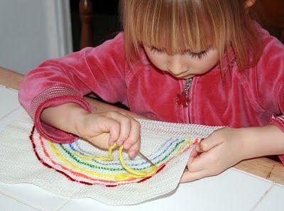 sewing for kids: shelf liner + yarn