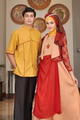 baju muslim pesta couple 2017