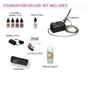 Foundation Deluxe Airbrush Makeup Machine - Blk Onyx Compressor - Medium Shades  by Dinair