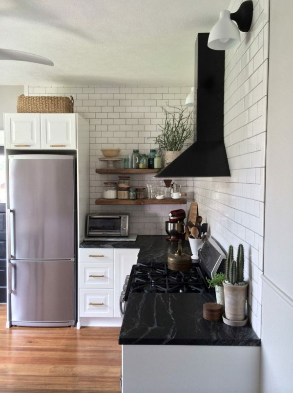 DIY IKEA Kitchen In Nebraska Featuring Brushed Granite Countertops As An  Affordable Alternative To Soapstone