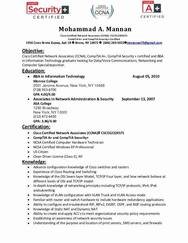 Network Engineer Resume Example Beautiful Ccna Resume Format September 2020 Engineering Resume Job Resume Job Resume Samples