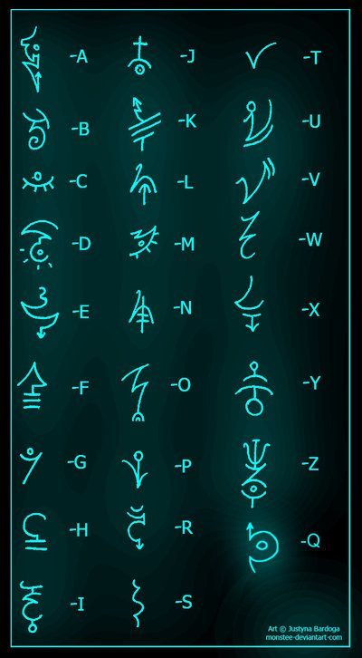 Ancient Symbols by *monstee on deviantART or is it a secret alphabet to write to your friends???? lol