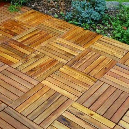 "From the Foundary - 10pk Eucalyptus Hardwood Interlocking Deck Tile.  $60.  Set of 10, 12 x 12"" snap-together wood tiles.  Eco-friendly, knot-free hardwood from controlled forests.  No nails, glue, or tools required.  Pre-treated and kiln dried to resist rot and decay.  Plastic grid backing and elevated feet - 1"" high.  Galvanized stainless-steel hardware.    Completely reusable - easy to remove and rearrange.  Will patina to a natural grey over time if not treated yearly with deck sealer."