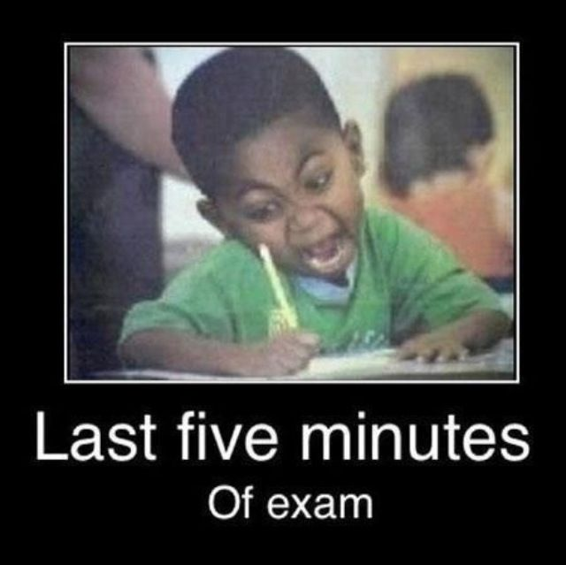 Lol that was me on the ISEE. *5 min left on vocabulary* I need to finish 15 problems. *5 min left on essay* I need to finish 2 paragraphs. I got it all done !!