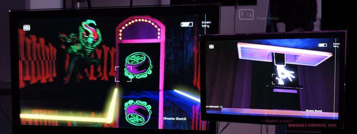 Project MADISON´S FUNHOUSE  Action Puzzle Mithilfe einer Kamera erkundet der Spieler ein Funhouse. Er kann fotografieren und dadurch Dinge materialisieren, um sie im Level zu benutzen. Der Arcane Mode, ein Spezialmodus der Kamera, enthüllt der Spieler verborgene Dinge.  Team: Isabellé Baschista, Eva Beilmann, Hac Hai Pham, Franka Schmidt, Ralf Benecke, Julie Junker