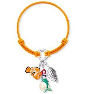 Thomas Sabo Bracelets Cheap Neon Orange Elastic Bracelet Embellished With Three Charms