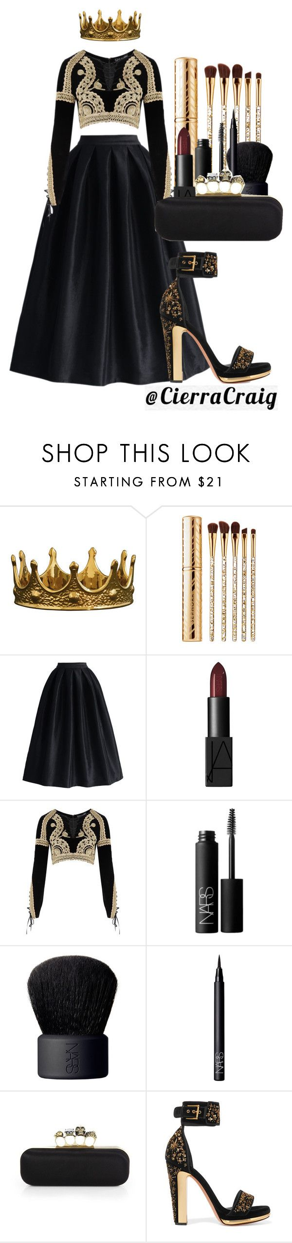 """""""Style Icon"""" by cierracraig ❤ liked on Polyvore featuring Sephora Collection, La Diva, NARS Cosmetics, For Love & Lemons and Alexander McQueen"""