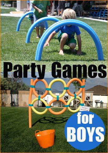 Party Games for Boys.  Awesome DIY party games for boys and girls.  Great for birthday celebrations, family gatherings and just for fun.  Lots of creative inexpensive game ideas.