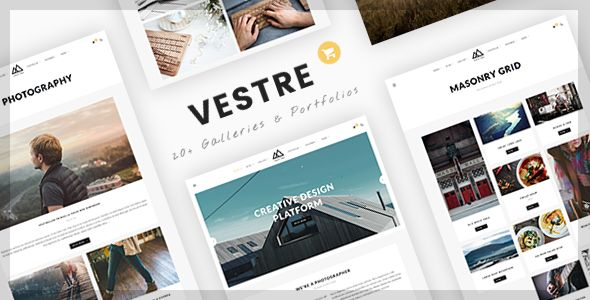 Vestre | Creative Photography WordPress Theme Vestre is a clean and minimal Wordpress theme for Photography, Gallery, Portfolio and Agency business. Built with the latest Wordpress technology. Vestre support responsive layout so it looks great on all devices. It has predefined layouts for blog posts, gallery, portfolio which can be imported with one click.
