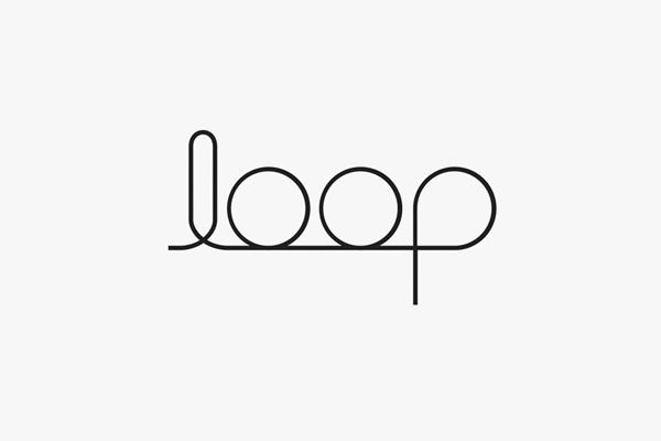 Logotype for an interior design brand using only loops in the typography - designed by Projektor, Italy