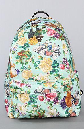 The Elegant Affair Back Pack by Joyrich  $146: Mint Flowers, Cat, Mint Green, Fashion, Fun Backpacks, Lady Backpacks, Elegant Affair, Affair Backpacks, Black High Heels