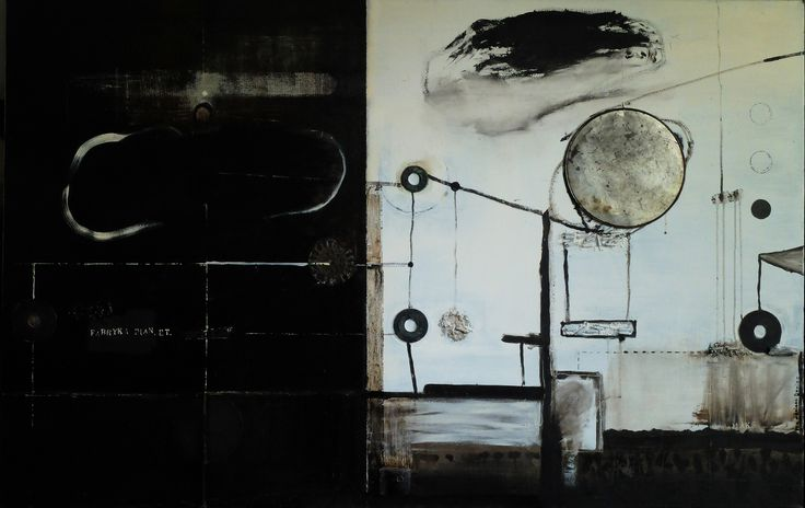 Fabryka planet, mixed media on canvas, 2013/2016,  90x 140 cm