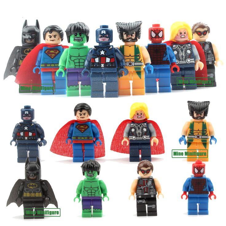 8pcs  Marvel DC Super Heroes  Action Toys Batman Ironman Building Block Toys Xmas Gifts